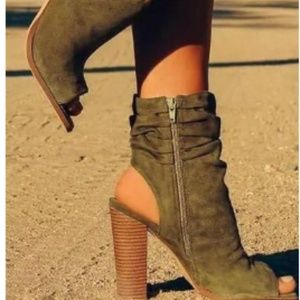 Liliana Suede Peep Toe Ankle Cutout Block Heel